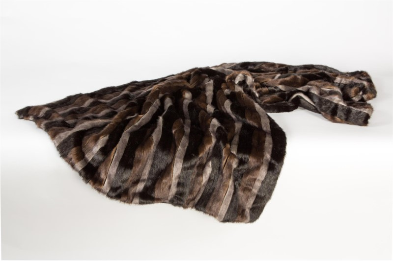 Faux Mink Stripe Throw: 48
