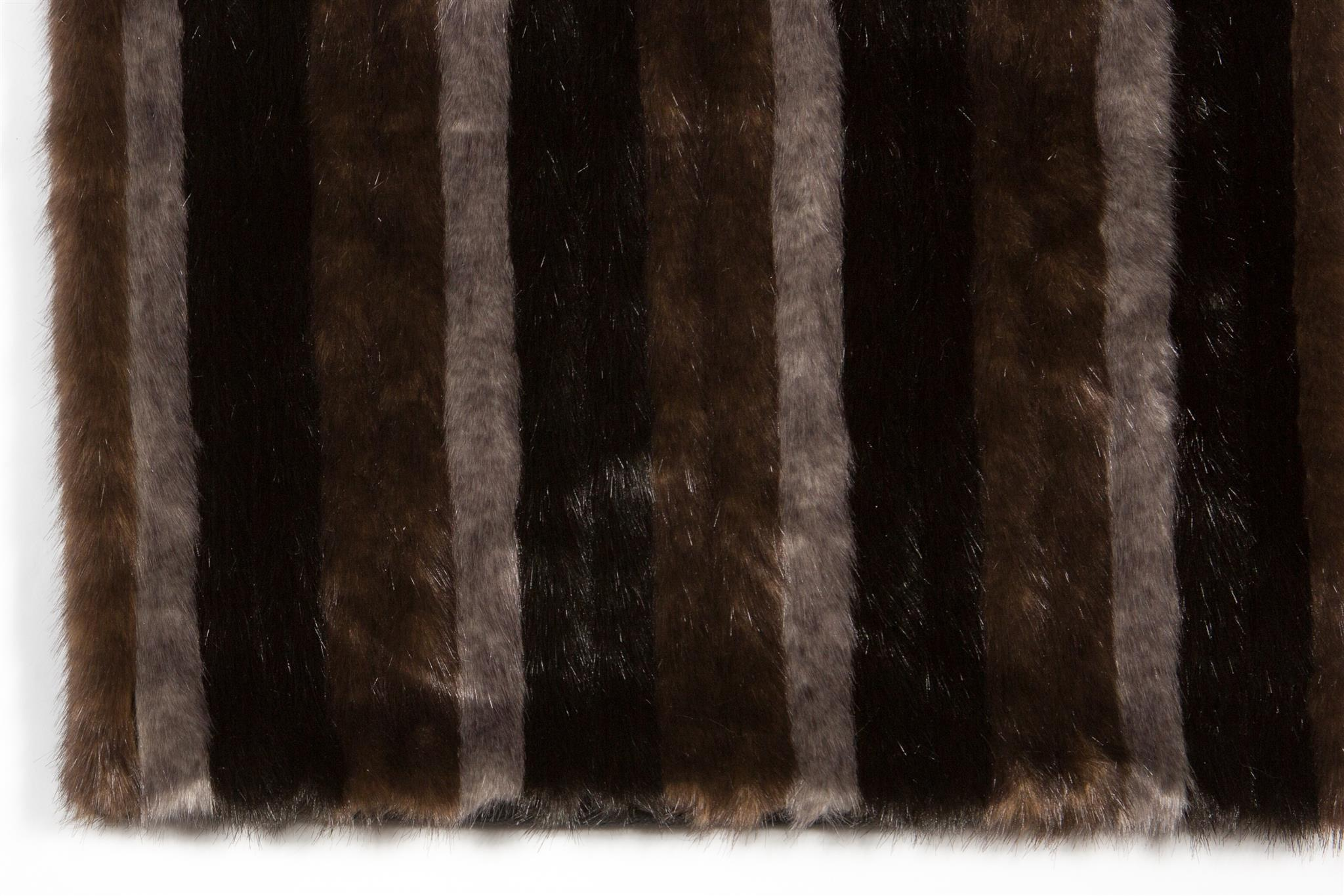 Faux Mink Stripe Rug: 5'x7' Tri Color