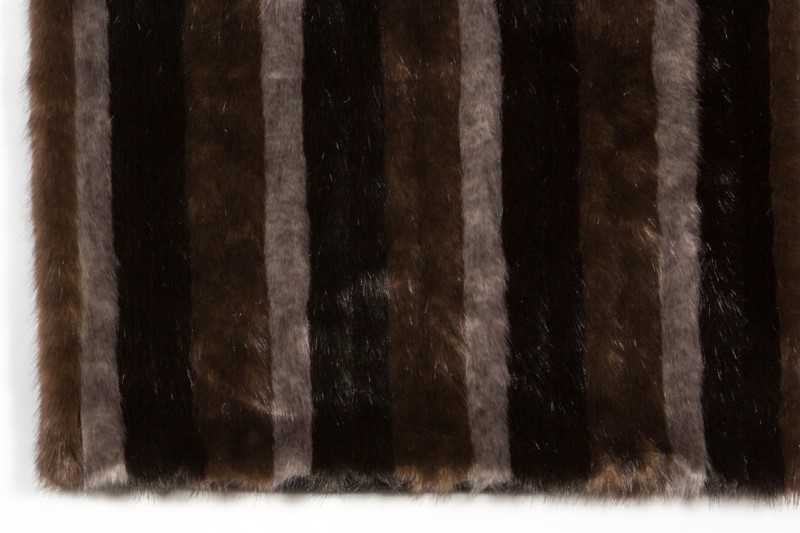 Faux Mink Stripe Rug: 6'x9' Tri Color
