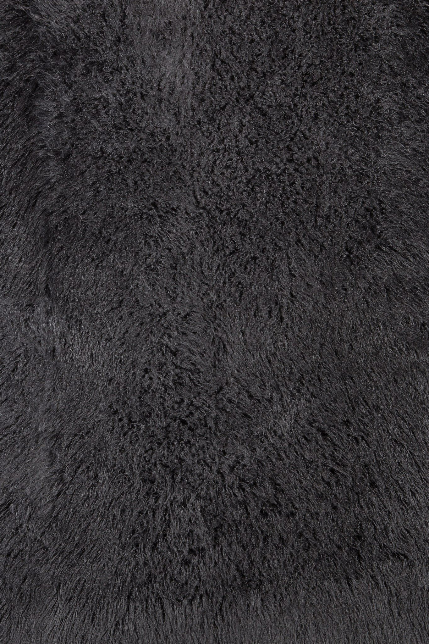 Faux Tibetan Lamb Rug: 5'x7' Dark Gray