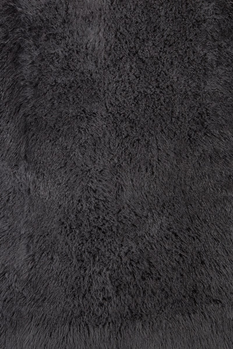 Faux Tibetan Lamb Rug: 6'x9' Dark Gray