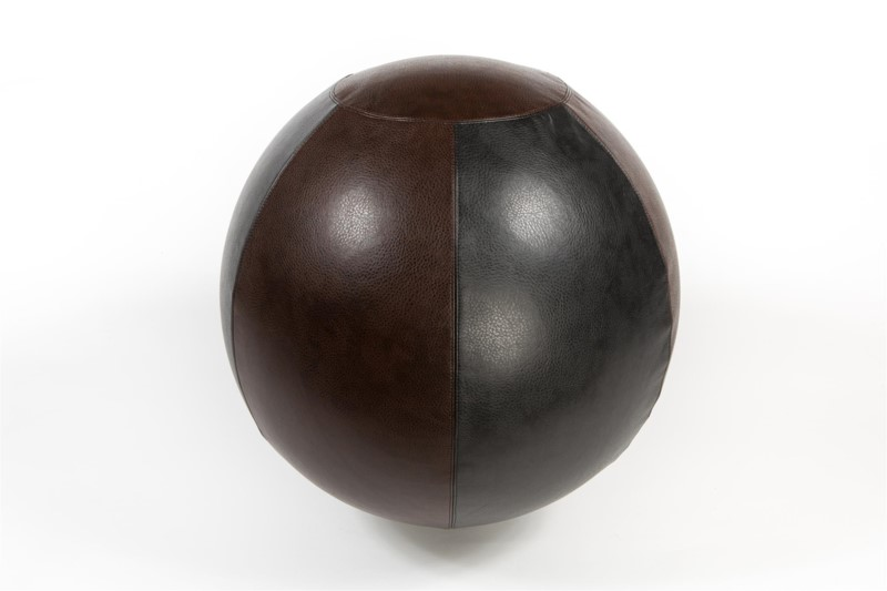Faux Leather Ball: 55cm Black and Brown