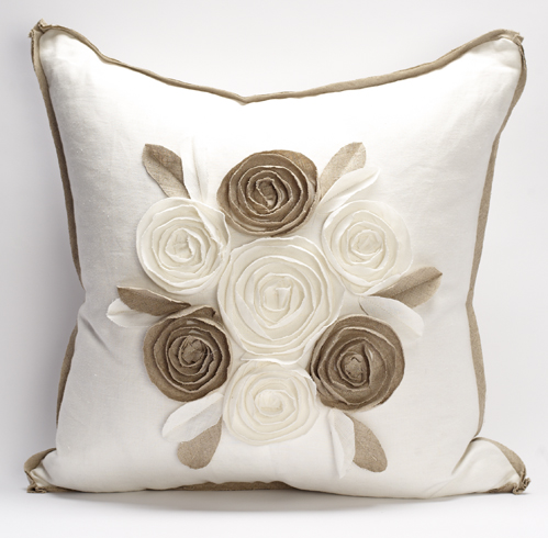 Churchill Linen - Rose Pillow - Ivory/Flax  -  22
