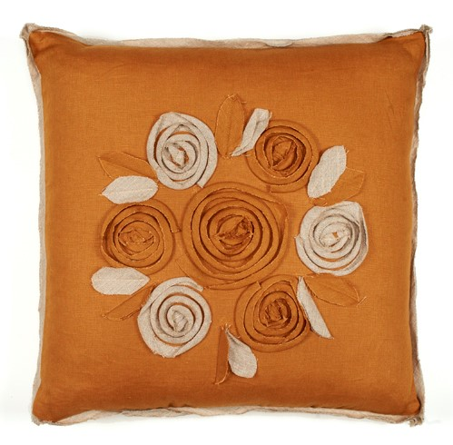 Churchill Linen - Roses Pillow - Bronze/Flax- 22