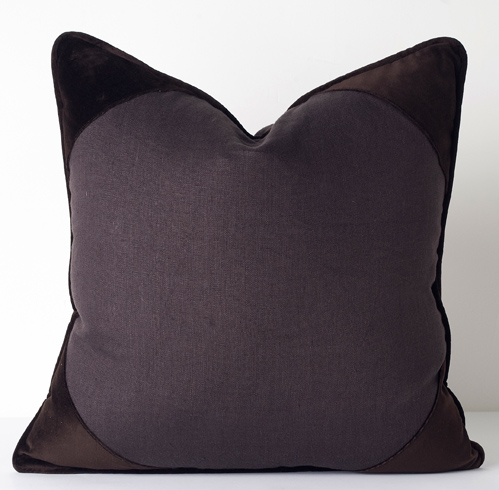 Churchill Linen - Brown -  Velvet Corner Pillow - 26
