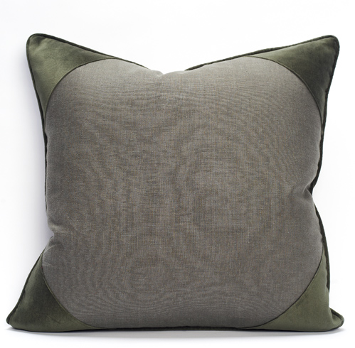 Churchill Linen - Loden -  Velvet Corner Pillow - 26