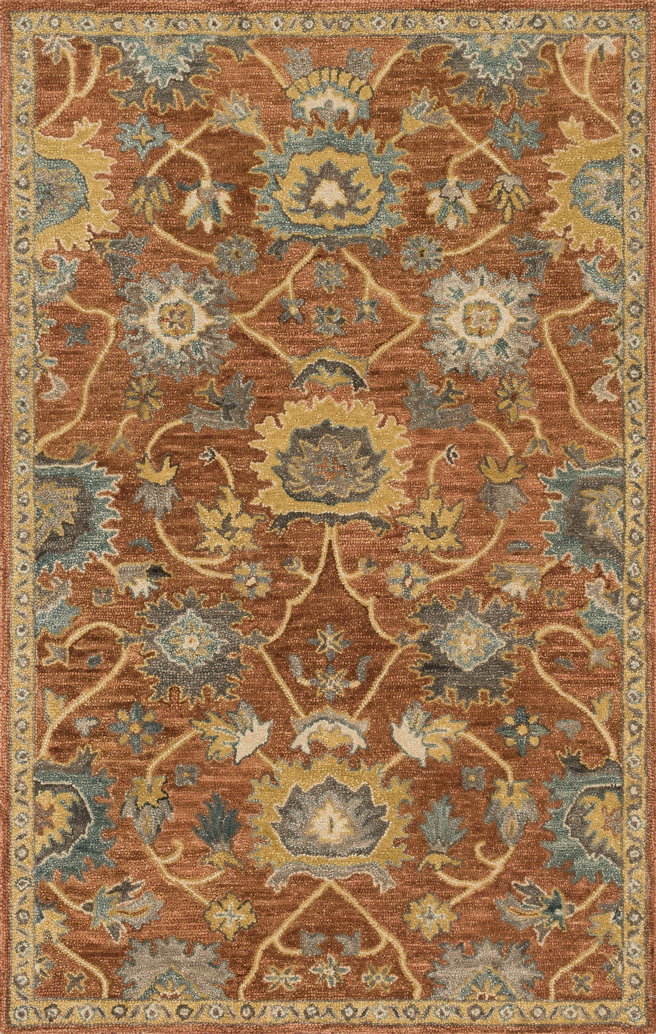 4x6 Loloi Rug Transitional Underwood Rust Gold Hand Made