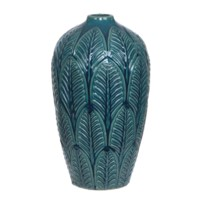 Layerd Leaves Dark Teal Vase