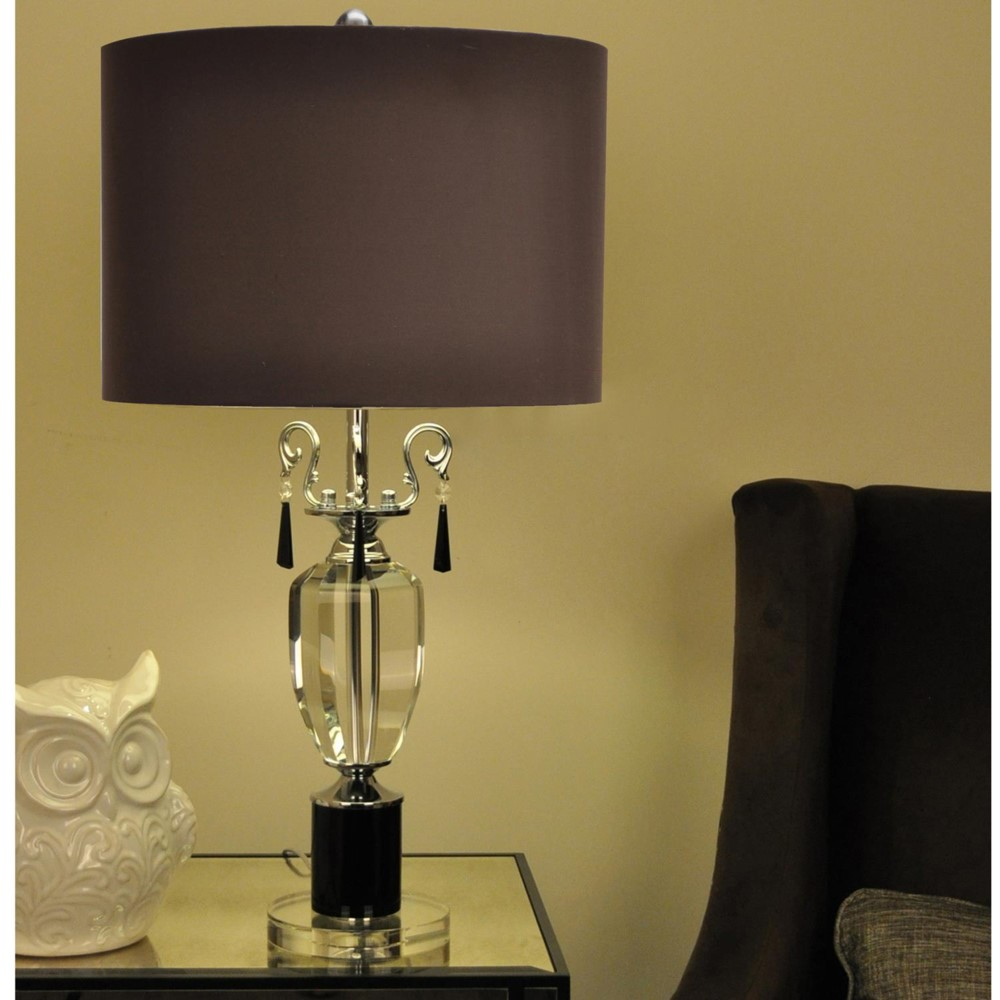 "Large Metal Lamp Shade: TWO LARGE 30"" CRYSTAL & METAL TABLE LAMP BROWN SILK SHADE"