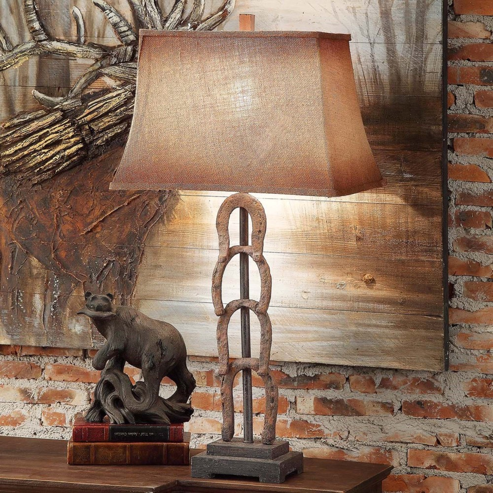 TWO RUSTIC HORSESHOE STYLE TABLE DESK LAMP WESTERN COWBOY