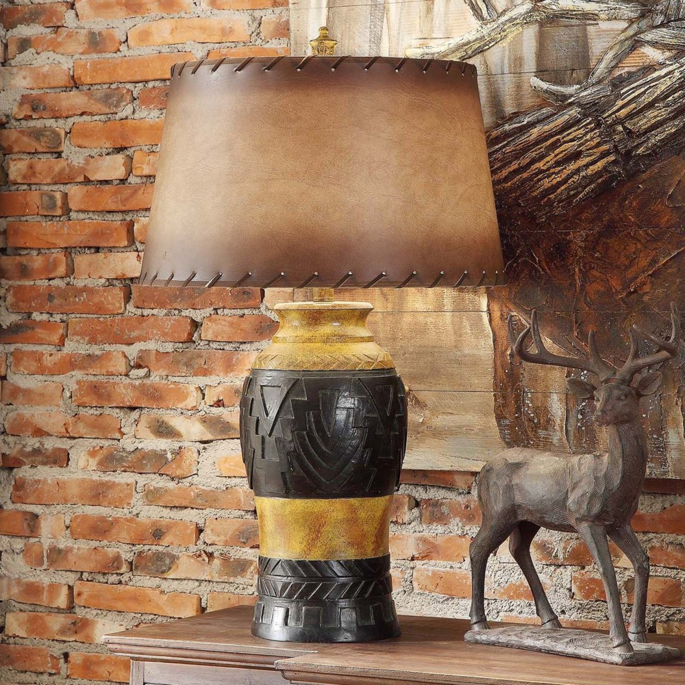 WESTERN RUSTIC INDIAN DESIGN STYLE TABLE LAMP LEATHER