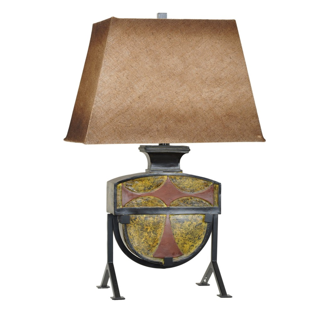 Old Fashioned Metal Lamp Shade: VINTAGE STYLE RESIN & METAL TABLE LAMP BURLAP SHADE