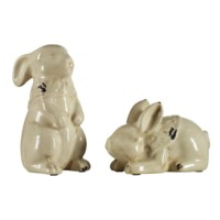 Laying & Standing Rabbit Statues
