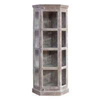 Bengal Manor Mango Wood Corner Beveled Glass Door Curio