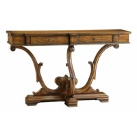Colonial 2 Drawer Carved Leg Console