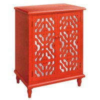 Tangerine Orange 2 Door Mirrored Cabinet