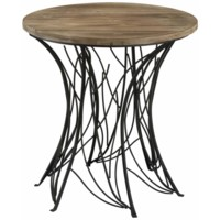 Spring Creek Metal and Weathered Wood Accent Table