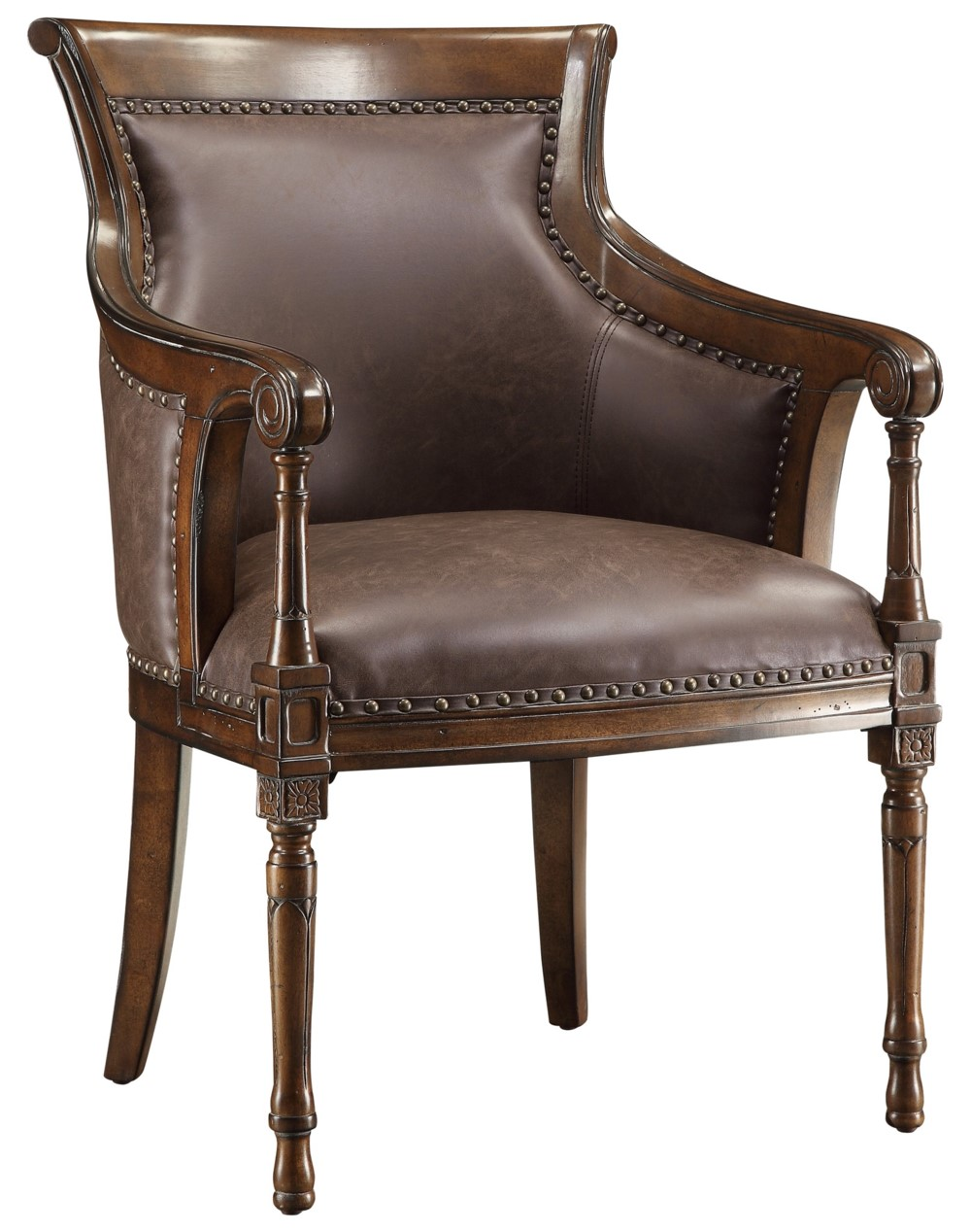 Two vintage style accent arm club chair leather seat