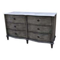 "Grayson Curved 4 Drawer 60"" Double Vanity Sink"