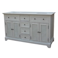 "Cottage White 4 Louvered Doors / 4 Drawers 60"" Double Vanity Sink"