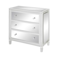 Hollywood White Trim and Mirror 3 Drawer Chest
