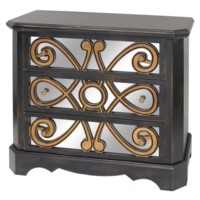 STERLING BLACK AND ANTIQUE GOLD 3 DRAWER MIRRORED CHEST