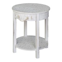 Seaside White Shell 1 Drawer Round Accent Table