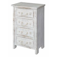 Seaside White Shell 4 Drawer Chest