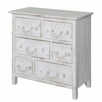 Seaside White Shell 6 Drawer Chest