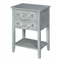Bayside Blue Shell 2 Drawer Accent Table