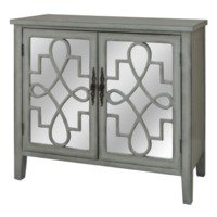 ISABELLE 2 DOOR GREY AND MIRRORED CABINET