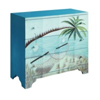 Gulf Breeze 3 Drawer Painted Beach Scene Chest