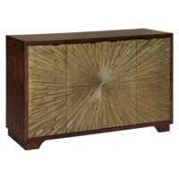 DEMPSEY 4 DOOR WOOD AND ANTIQUE GOLD PATTERN CABINET