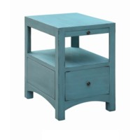 Langley Antique Blue 1 Drawer / 1 Pull Shelf Side Table