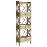 Carlisle Rustic Wood 3 Drawer Tall X Storage Shelf