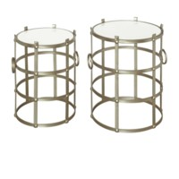 Belvedere Champagne Metallic and Marble Accent Tables