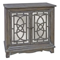 Ridgeway Dark Rustic Wood 2 Patterned Mirrored Door Cabinet