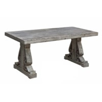 Overton Distressed Grey Carved Leg Cocktail Table