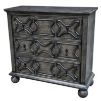 Rutledge Antique Grey 3 Drawer  Pattern Front Chest