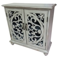 Elizabeth 2 Door White Wash Open Fretwork Cabinet