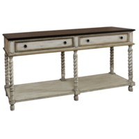 Livingston Textured Twist Console with Wood Top