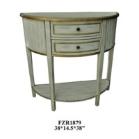 Livingston Textured 2 Drawer Demilune Console