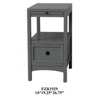 Massey 1 Drawer Grey Chairside w/ Pull Shelf