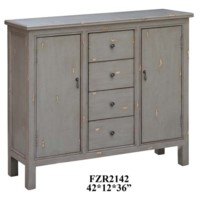 Richmond Textured Grey 4 Drawer / 2 Door Cabinet
