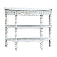 Genevieve Antique Crackled White Demilune Console