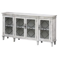 Lindsey 4 Door Breakfront Textured White Sideboard