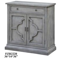 Chadwick Antiqued Grey 2 Door Quatrefoil / 1 Drawer Cabinet