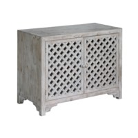 Charlotte 2 Door Light Wash Diamond Lattice Work Cabinet