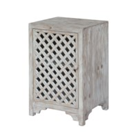 Charlotte 1 Door Light Wash Diamond Lattice Work Cabinet