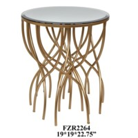 Melrose Gold Squiggly Leg Beveled Mirror Accent Table
